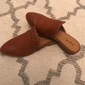 Qupid Faux Leather Cut Out Mules